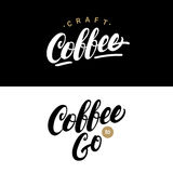 Set pisać kawowa ręka piszący list loga, etykietki, odznaki Obrazy Stock