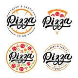 Set pisać pizzy ręka piszący list loga, etykietka, odznaka Zdjęcia Stock