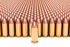 Set of pistol bullets, 3D rendering. Isolated on white background Stock Photo