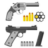 Set of pistols. Revolver, revolver s barrel and bullets. Stock Image