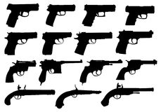 Set of pistols silhouettes Stock Photography