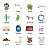 Set of piston log, butcher shop, fight club, fake news, go food, year the dog, digital tree, weed leaf, doll icons. Set Of 16 simple editable icons such as Stock Photography