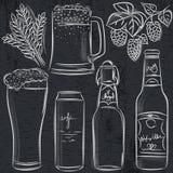 Set piwna butelka na blackboard Obrazy Stock