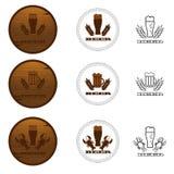 Set Piwne odznaki, etykietki, logowie w Brown kolorze ilustracji