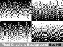 Set of Pixel Abstract technology gradient horizontal backgrounds. Business black white mosaic backdrops failing pixels. Royalty Free Stock Photo