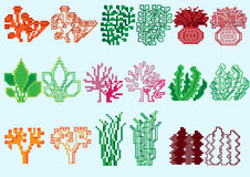 Set of pixel algae. For games and mobile applications vector illustration