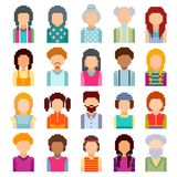 Set of pixel art avatar faces. Men and women of all ages on white background Royalty Free Illustration