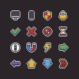 Pixel Art UI Icons. Set of 16 pixel art 8-bit UI icons with pc and mobile devices, shield, lock, hourglass, compass, magnet, lightning and arrows Stock Images