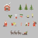 Set of pixel art for christmas Stock Images