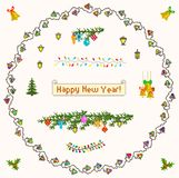 Set of pixel art for christmas and new year Stock Images