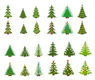 Set of pixel art for christmas tree Stock Image