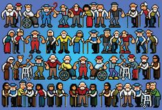 Set of pixel art elderly senior people crowd illustration. Set of pixel art elderly senior people crowd vector illustration stock illustration