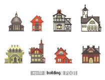 Set of Pixel art isometric building Stock Photos
