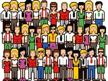 Set of pixel art people crowd vector illustration. Isolated on white vector illustration