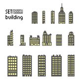 Set of pixel building skyscraper vector illustration
