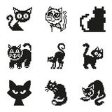 Set of pixel cat in simple minimal black style Royalty Free Stock Photos
