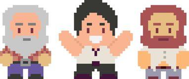 Set of pixel characters in art style. Set of game characters in perfect pixel art style. Men or boys. Retro 8-bit or 16-bit. For your games, retro, business stock illustration