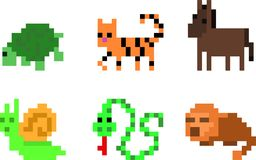 Set of pixel characters. Set of game animals in perfect pixel art style. Tortoise, horse, donkey, tiger, snake, python, snail, gopher. Retro 8-bit or 16-bit. For Royalty Free Stock Image