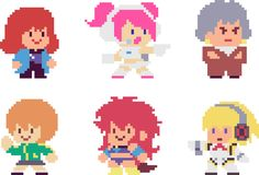 Set of pixel characters. Set of game girls in perfect pixel art style. Retro 8-bit. Beautiful girls and women with hairstyles and make-up. For your games, retro Royalty Free Illustration