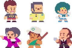 Set of pixel characters. Set of game characters in perfect pixel art style. Men or boys. Retro 8-bit or 16-bit. For your games, retro, business design. Detailed Stock Image