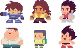 Set of pixel characters. Set of game characters in perfect pixel art style. Men or boys. Retro 8-bit or 16-bit. For your games, retro, business design. Detailed Stock Photography