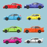 Set of pixel colored cars. Isolated on a blue background. For games and mobile applications Stock Photography