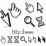 Set of  pixel cursors. Set of 3d  and pixel cursors Royalty Free Stock Photography