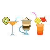Set pixel drinks Stock Photos