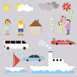 Set of pixel elements and cartoons. Vector Stock Image