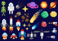 Space ships, planets, satellites. A set of pixel elements. Space ships, planets, satellites and other space objects. For games and mobile applications Stock Images