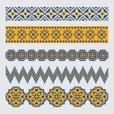 Set of pixel ethnic seamless border ornament Royalty Free Stock Image
