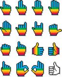Set of Pixel Hand Cursors in Rainbow Color Pattern. Collection of 16 pixel hand cursors designed in a rainbow color pattern, showing a sequence of fingers vector illustration