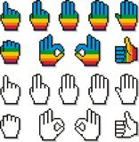 Set of Pixel Hand Cursors in Rainbow Color Pattern Two. Collection of 9 pixel hand cursors in rainbow color pattern, showing a sequence of fingers counting, in royalty free illustration