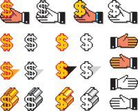 Set of Pixel Hand Cursors and Currency Symbols. Collection of executive hand cursors and monetary symbols, in black & white and in colors, made by pixels Stock Images