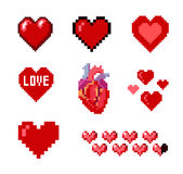 Set of pixel hearts. Set of various pixelated hearts Stock Photos