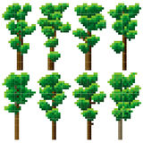 Set of pixel high tree. Royalty Free Stock Photography