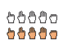Set of pixel icons of hand. Score, one, two, three, four Royalty Free Stock Photos
