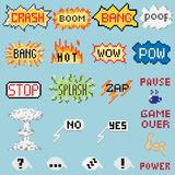Set of pixel inscriptions. Big set of pixel inscriptions. For games and mobile applications Stock Photos