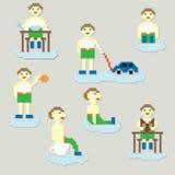 Set of pixel  kids cartoons Royalty Free Stock Images