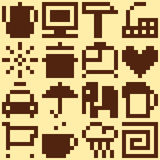 Set of pixel objects Royalty Free Stock Image