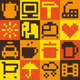 Set of pixel objects Stock Photography