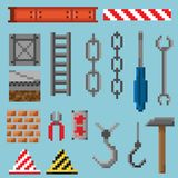 A set of pixel objects and tools royalty free stock photo