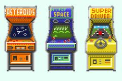 A set of pixel old gaming machines vector illustration