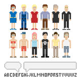 Set of pixel people royalty free illustration
