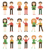Set of pixel people. Royalty Free Stock Images