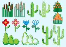 Set of pixel plants Stock Images