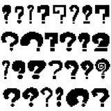 Set of pixel questions of black color. On white background Royalty Free Stock Images