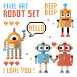 Set of pixel robots, words, hearts. Royalty Free Stock Images
