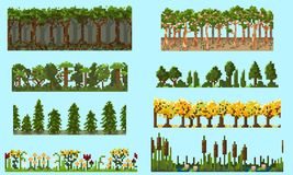 A set of pixel seamless element with trees and flowers royalty free illustration