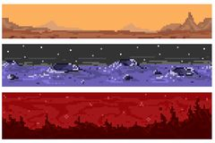 A set of pixel seamless extraterrestrial landscapes. A set of pixel seamless alien landscapes. For games and mobile applications Royalty Free Stock Images